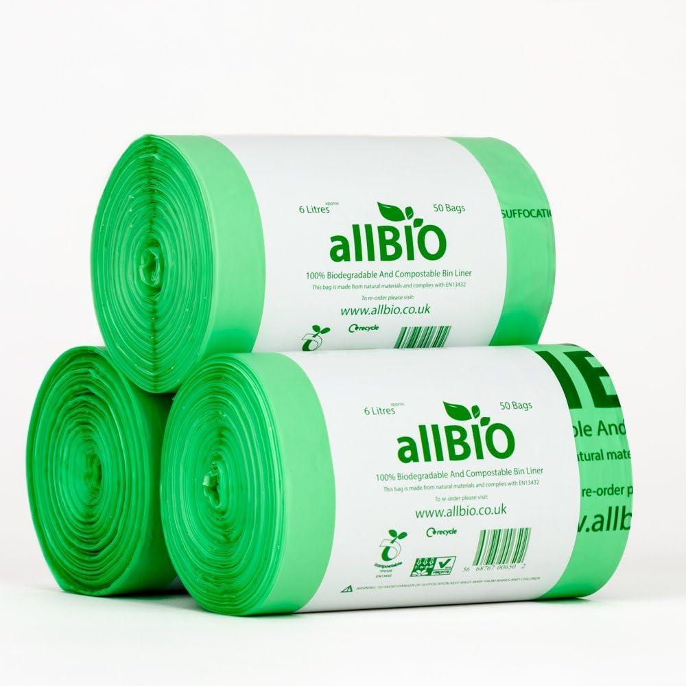 6 Litre x 150 bags allBIO 6 Litre 100% Biodegradable & Compostable ...