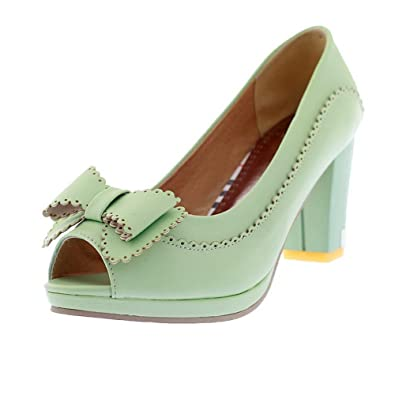 67413fedbdf AmoonyFashion Womens Open Peep Toes High Heel Chunky Soft Material PU Solid  Pumps with Bowknot