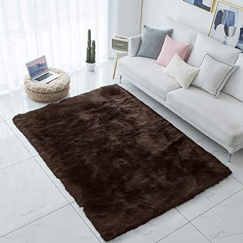 Carvapet Shaggy Soft Faux Sheepskin Fur Area Rugs Floor Mat Luxury Beside Carpet