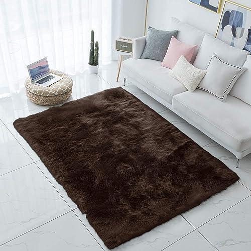Carvapet Shaggy Soft Faux Sheepskin Fur Area Rugs Floor Mat Luxury Beside Carpet