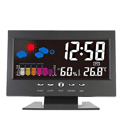 Rekkles El Reloj de Escritorio eléctrico, Pantalla Colorida de retroiluminación LCD Digital Despertador Fecha Hora