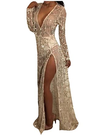 9035e2f0e4 RDHOPE Womens Evening Maxi Dress Macrame Beach Wear Sequin Cover-UPS ...