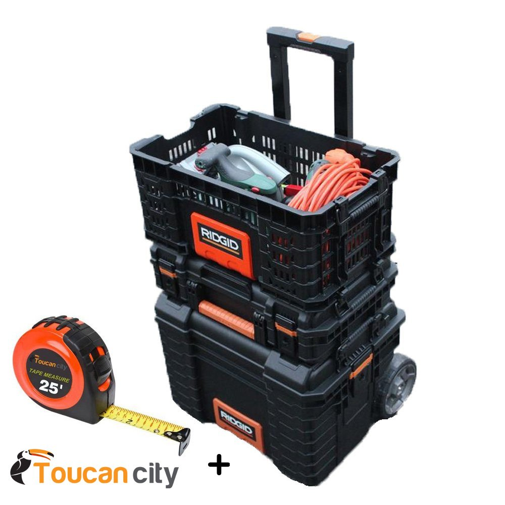 RIDGID Professional Tool Storage Pro Gear Cart, Organizer, Basket Box 22'' AND Toucan City 25 ft. Tape Measure