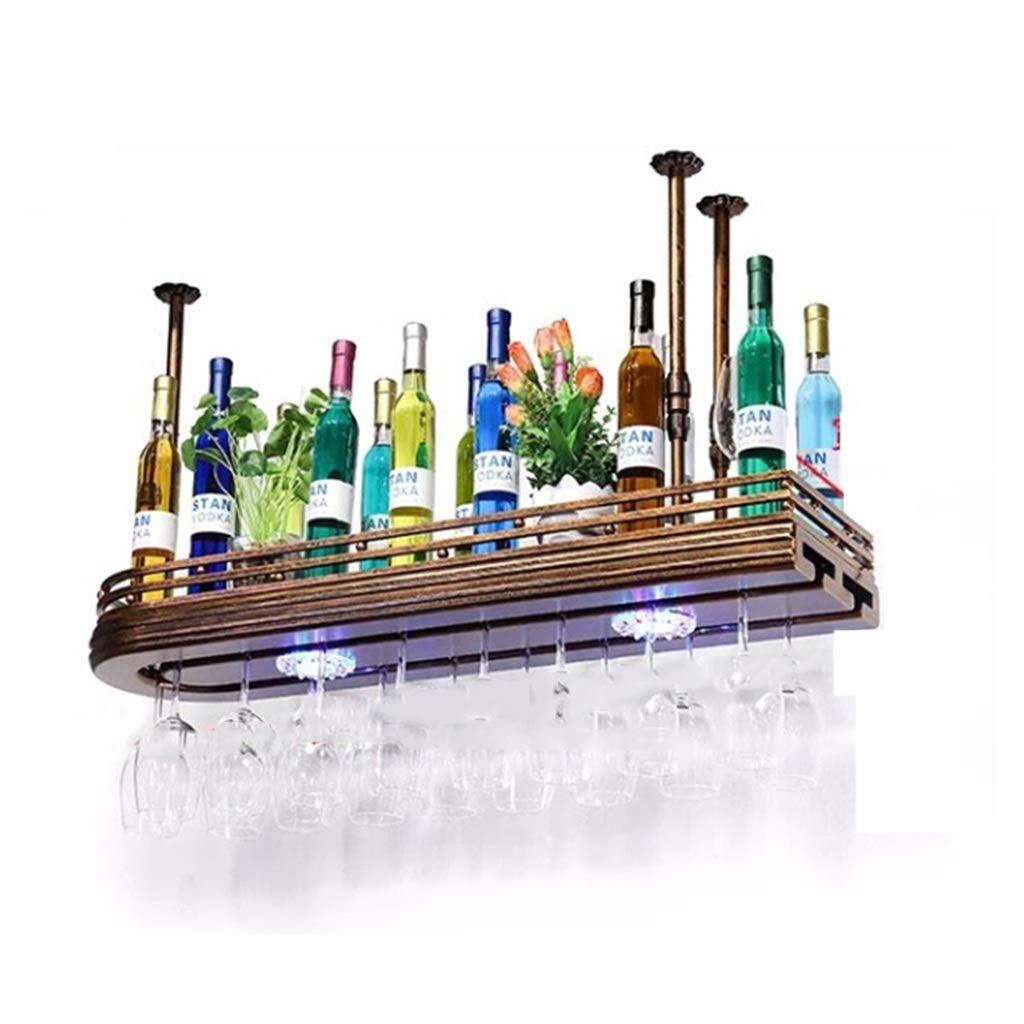 Racks de Vino - Rack de Vidrio de Vino Colgando al revés Negro Rack de cubitera de múltiples tamaños Living Bar Decoración [3 Tamaños Disponibles] (Tamaño : 100x27cm)
