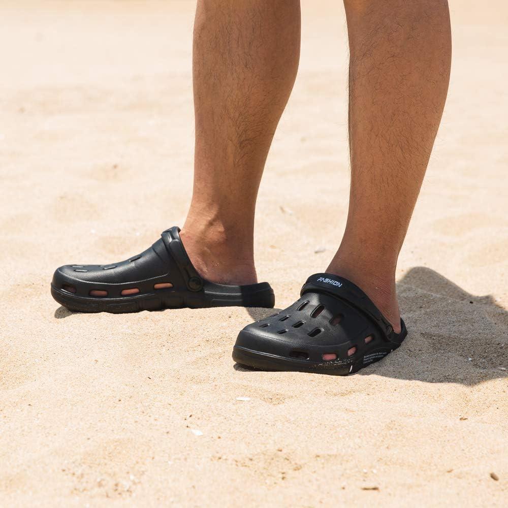 EU39-EU50 UK15 Mens Clogs Garden Sandals Slippers Lightweight Summer Beach Outdoor Yard Pool Rubber Water Shoes Quick-Drying Beige Black Blue Grey UK6