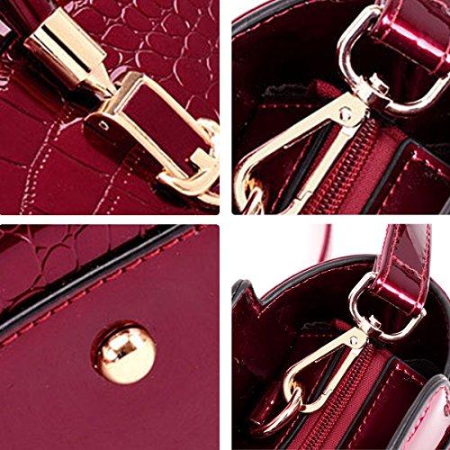 SANSJI diagonale Vin Rouge de Sac d'épaule de en de main mode brevet crocodile à cuir cuir de de modèle de modèle RtrqHRw