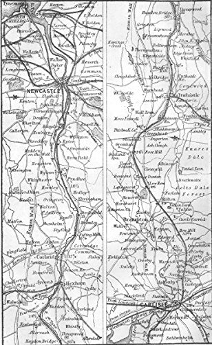 RAILWAYS. Newcastle, Carlisle, Shields, Tynemouth - 1874 - old map - antique map - vintage map - Cumbs - Shield 1874