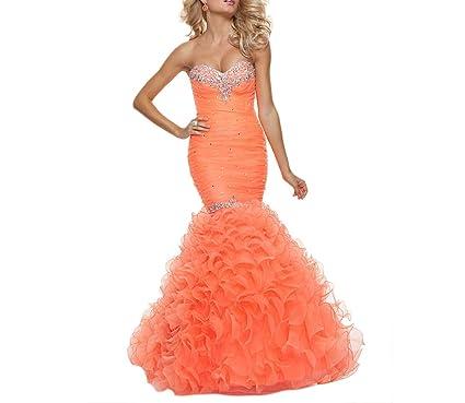 Dearta Womens Mermaid/Trumpet Sweetheart Floor-Length Dress US 2 Orange