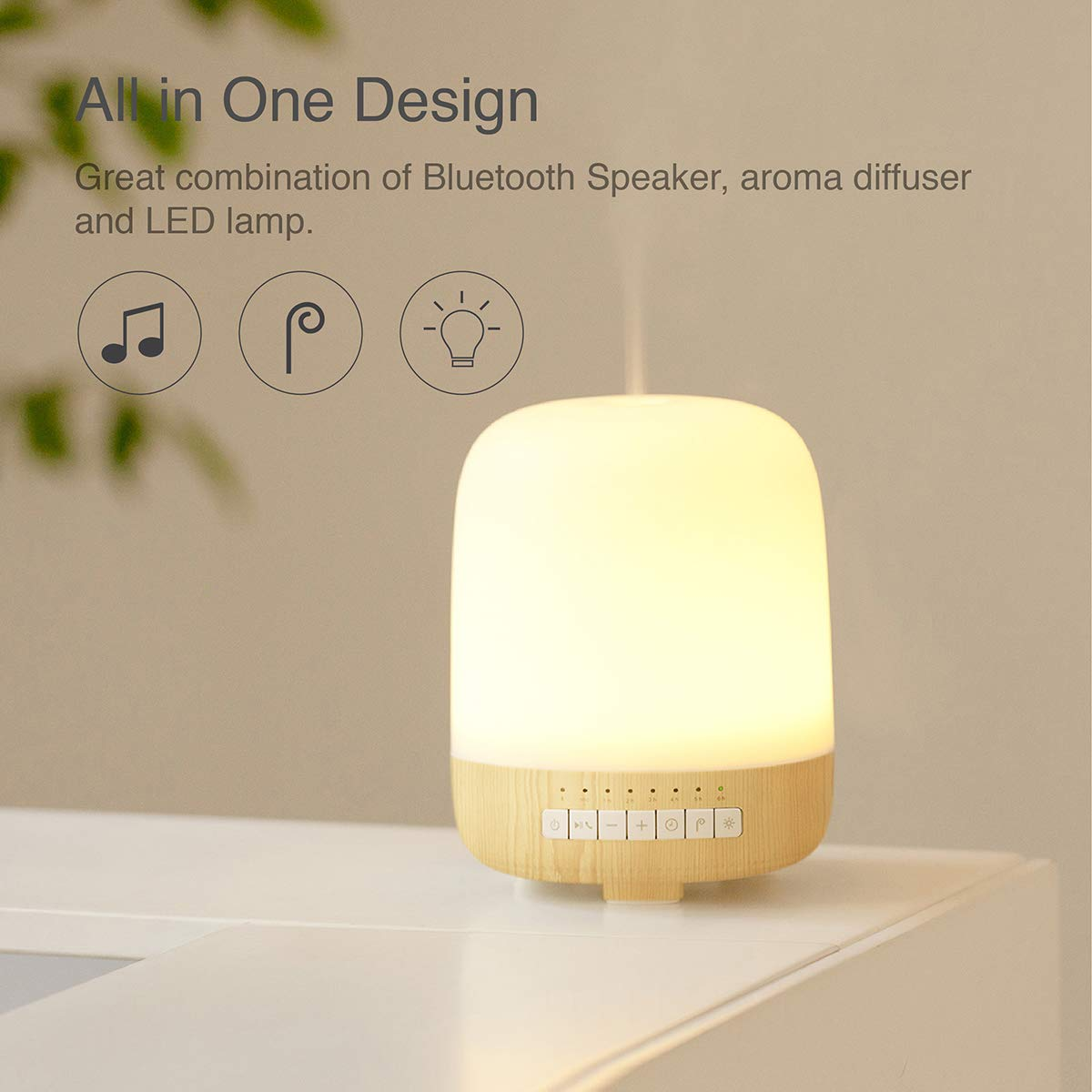 emoi 3-in-1 Aromatherapy Diffuser, Bluetooth Speaker and Multiple Colours Lamp (200ml) by emoi (Image #2)