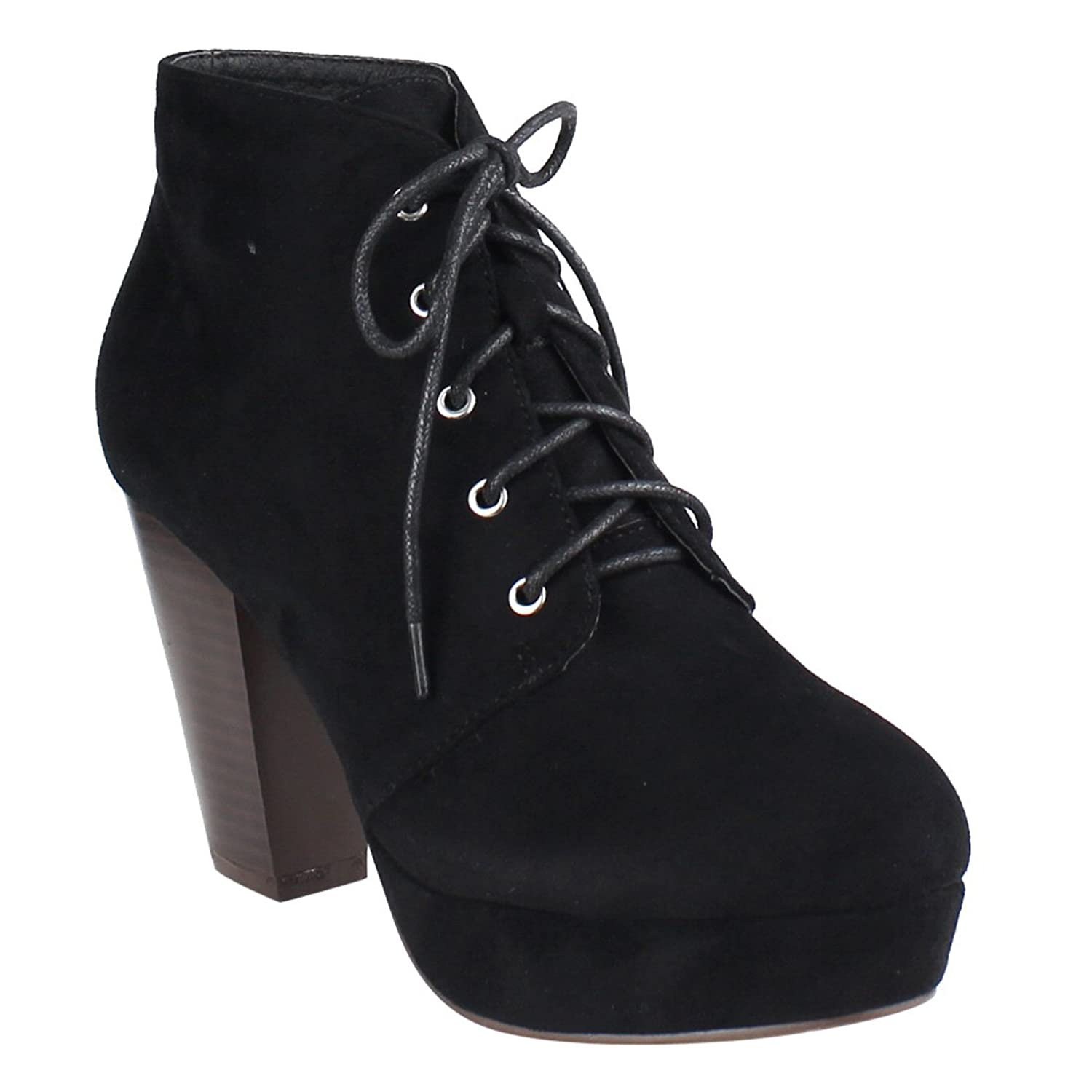 EI44 Women's Lace Up Stacked Chunky Heel Platform Ankle Bootie