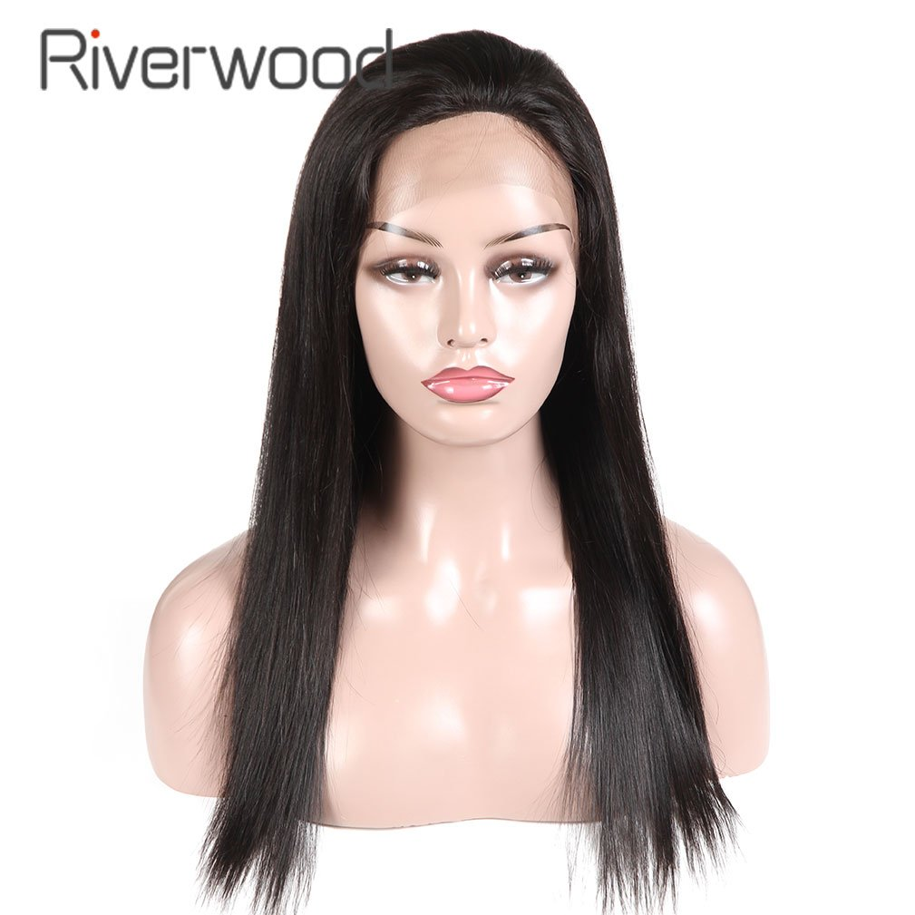 Malaysian Virgin Human Hair Lace Front Wigs 180% Density for Black Women Long Straight Pre Plucked Glueless Human Hair Wigs With Baby Hair Bleached knots Natural Black color 18inch by Riverwood (Image #2)