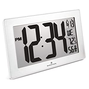 Marathon CL030068WH-SS Slim Panoramic Atomic Full Calendar Wall Clock with 8 Time Zones, Indoor Temperature, and Table Stand - Batteries Included. Color- White Frame/Stainless Finish
