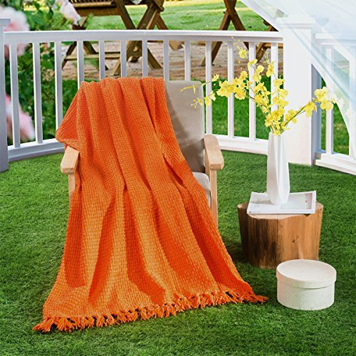 HollyHOME Oversized and Thick Throw Blanket 50x60 Inches Burnt Orange Warm Soft Microfiber All Season Blanket with Tassels (Wrap Around For Couches Sale)
