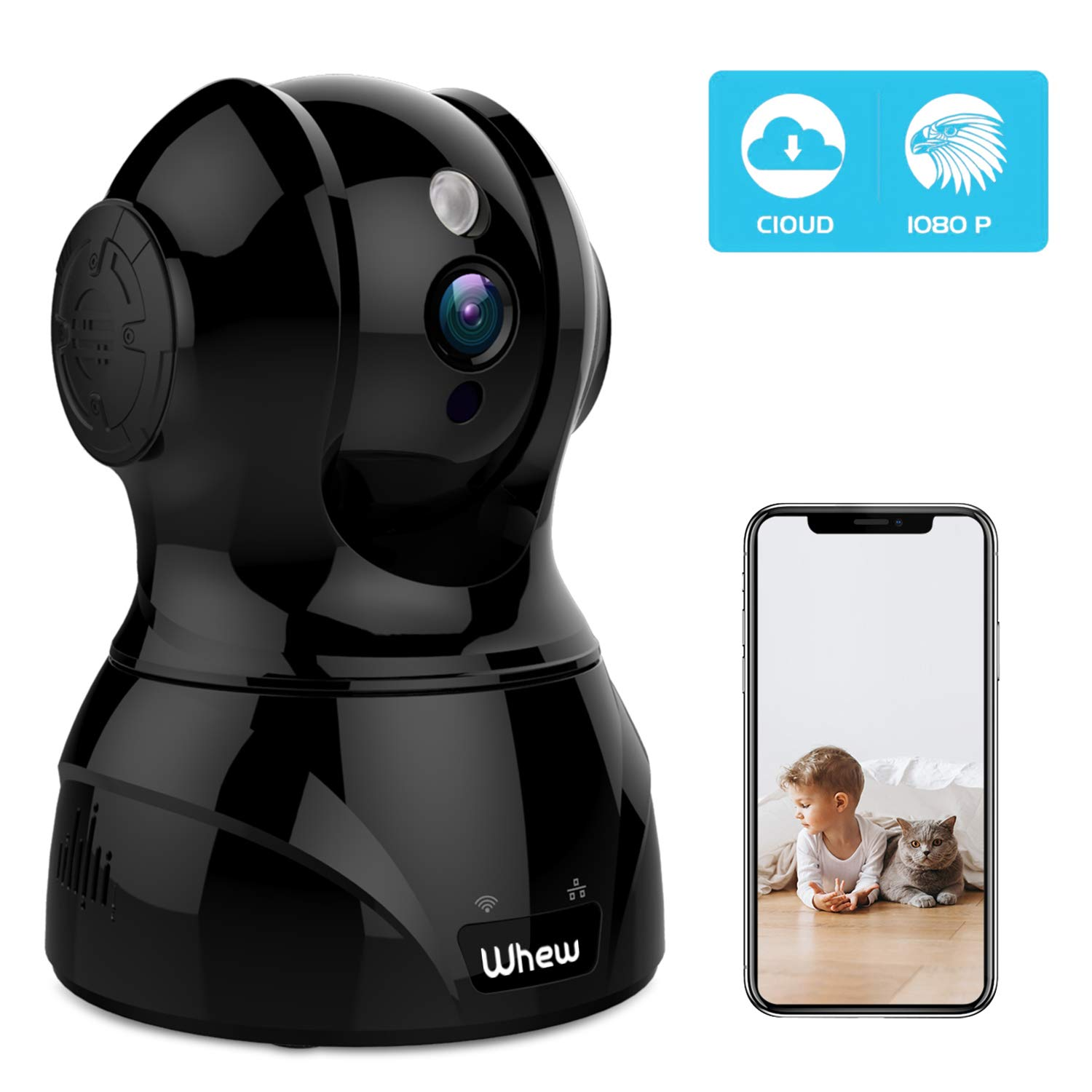 1080P WiFi Camera Indoor, Whew Wireless Home Security Camera Baby Monitor Pet Camera with Night Vision, 2-Way Audio, Motion Detection, Cloud Storage, Work with Alexa, Black by Whew