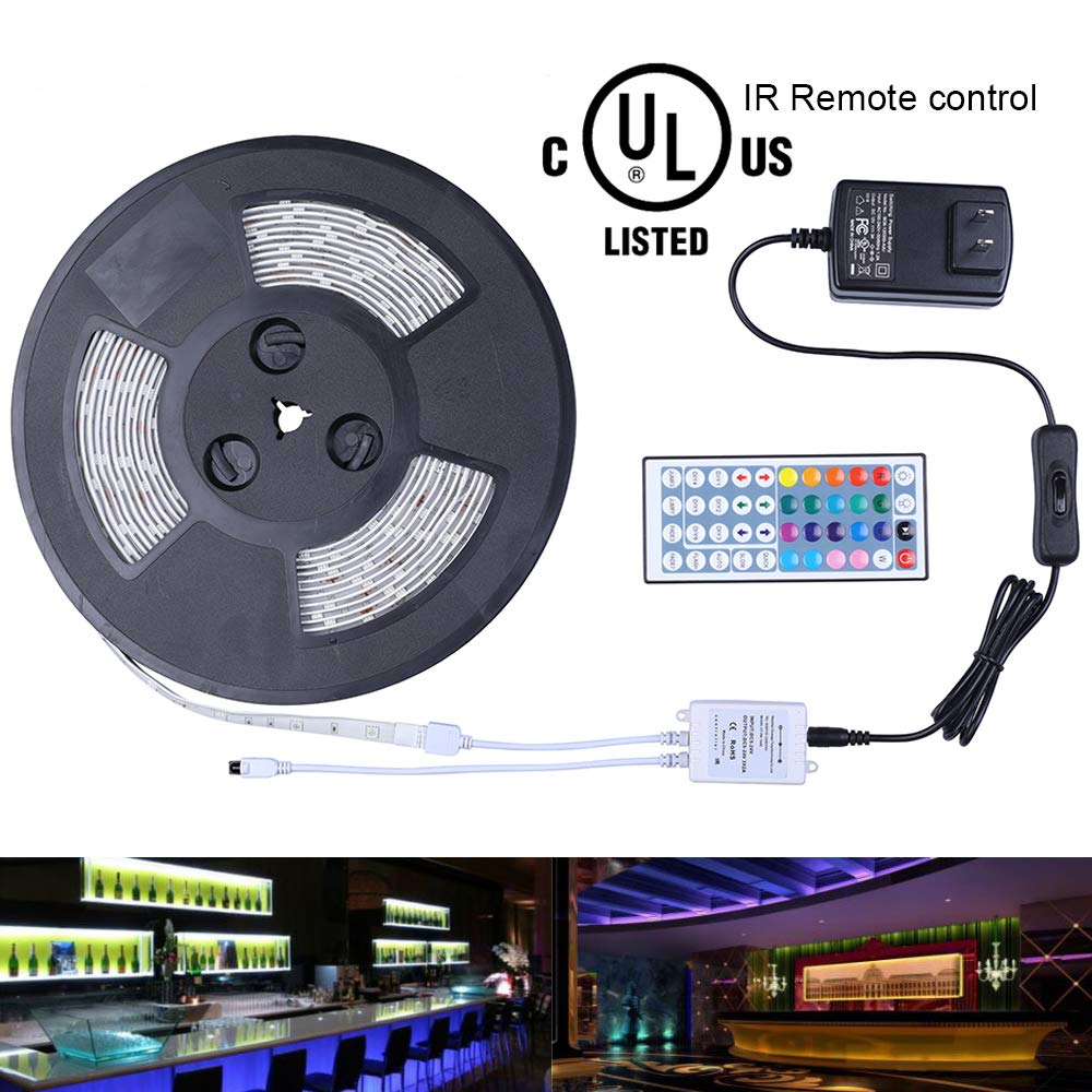 Miheal Waterproof 5050 SMD 32.8ft (10m) RGB LED Strip Light Kit, Color Changing White PCB Rope Lights+44-Key IR Controller+ Power Supply for Home,Kitchen,Truck and Bedroom Decoration