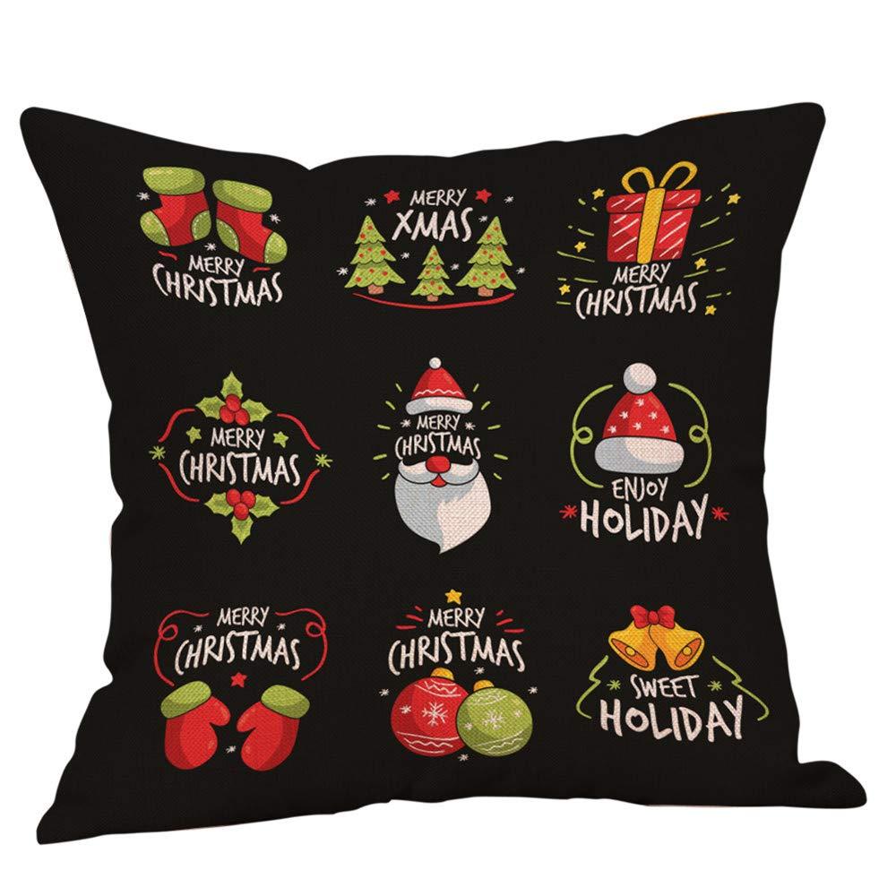 Retro Christmas Pgojuni Throw Pillow Cases Cushion Cover Flax Pillow Cover for Sofa/Couch 1pc 45cmx45cm (C)
