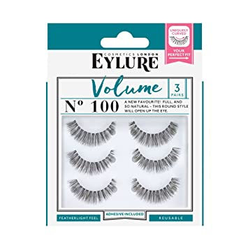 d80df4cf071 Amazon.com : Eylure Volume False Eyelashes Multipack, Style No. 100,  Reusable, Adhesive Included, 3 Count : Beauty