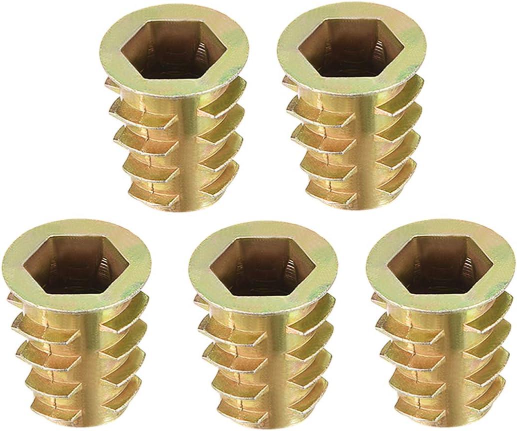 sourcing map Filet/é Insert Clou Zinc Alliage Hex Prise M10 Internal Filetage 23mm Long 10pc