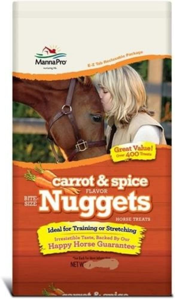 3 Packs of Manna Pro 1 lb. Carrot & Spice Flavor Bite Size Nugget Treats for Horses. (Carrot)