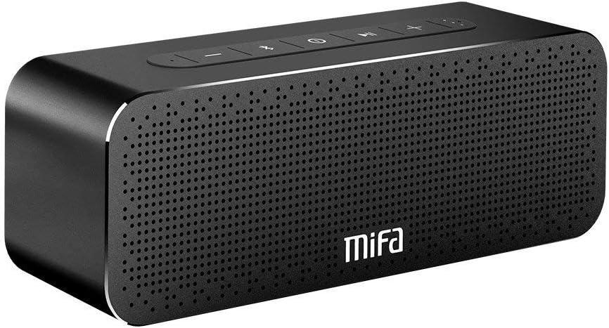 MIFA SoundBox Altavoz Portátil Bluetooth 30W Todo en Aluminio Subgrave Potente, 4000mAh de Litio Recargable, Tecnología TWS y DSP Sonido Stereo & Bass, Tarjeta de microSD, AUX-IN (Negro)