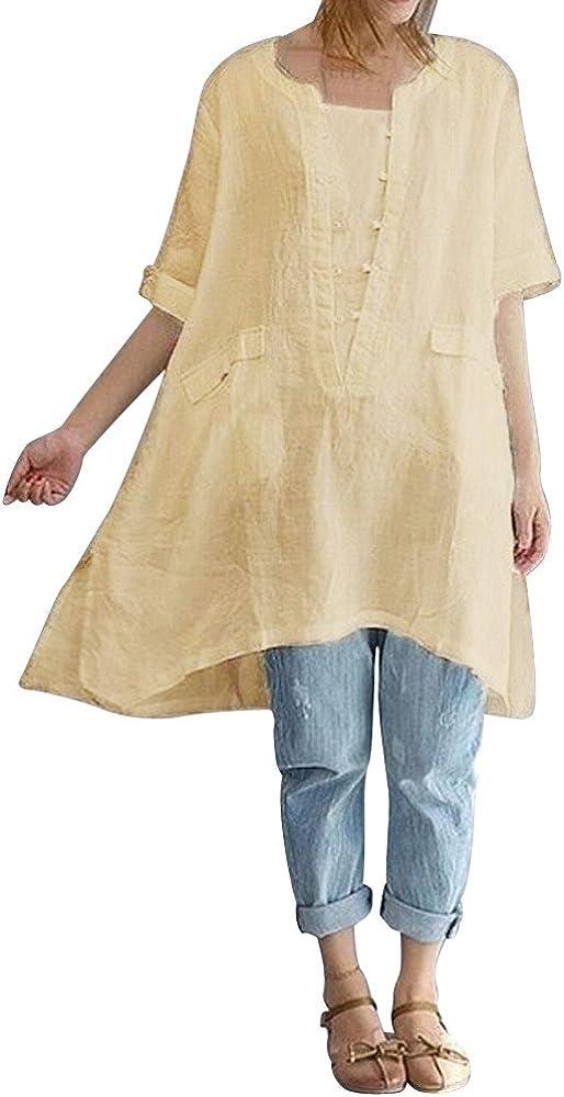 Tosonse Camiseta para Mujer Jersey De Lino Tops Blusa Tanques Camisas Color Sólido Camiseta con Cuello Redondo Playa Túnica De Manga Corta Dobladillo Irregular Suelta Ajuste: Amazon.es: Ropa y accesorios