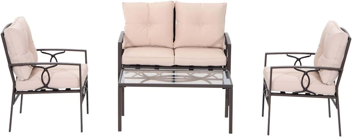 Outsunny 4-Piece Outdoor Steel Loveseat and Chair Set