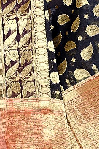 Chandrakala Women's Black Cotton Silk Banarasi Saree by Chandrakala (Image #4)