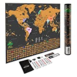 Scratch Off World Map Poster - with US States and Country Flags, Track Your Adventures. Includes Scratcher and Memory Stickers, Perfect Gift for Travelers, By Earthabitats®