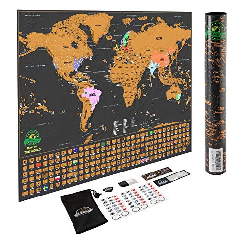 cheap Scratch Off World Map Poster with US States and Country Flags on