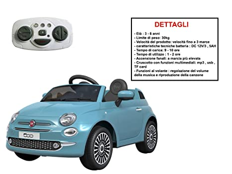 Auto Elettrica Fiat 500 Celeste Mazzeo Giocattoli Amazon It