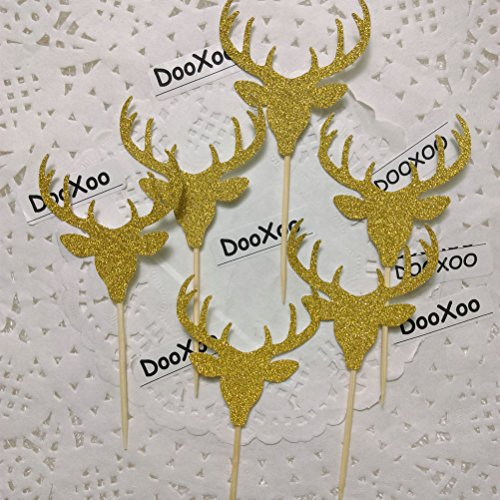 DOOXOO Deer Cupcake Toppers, Deer Party, Hunting Cake Topper,Gold Glitter,Animal Party Favors,Deer Decor,Cake Decoration,Hunting Birthday Party ( Set of 12 ) (Deer Decorations)