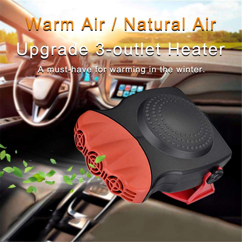 Missbee 12V 150W Car Ceramic Heater Portable Car Auto Vehicle Electronic Heater Defogger Cooling Fan 3-Outlet Defroster
