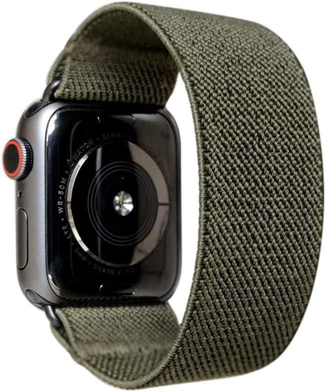 Tefeca Elastic Compatible/Replacement Band for Apple Watch (Army Green, L fits Wrist Size : 7.0-7.5 inch, 42/44mm)