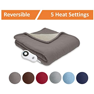 Serta | Reversible Sherpa / Fleece Heated Electric Throw Blanket for Bed or Couch (Beige)