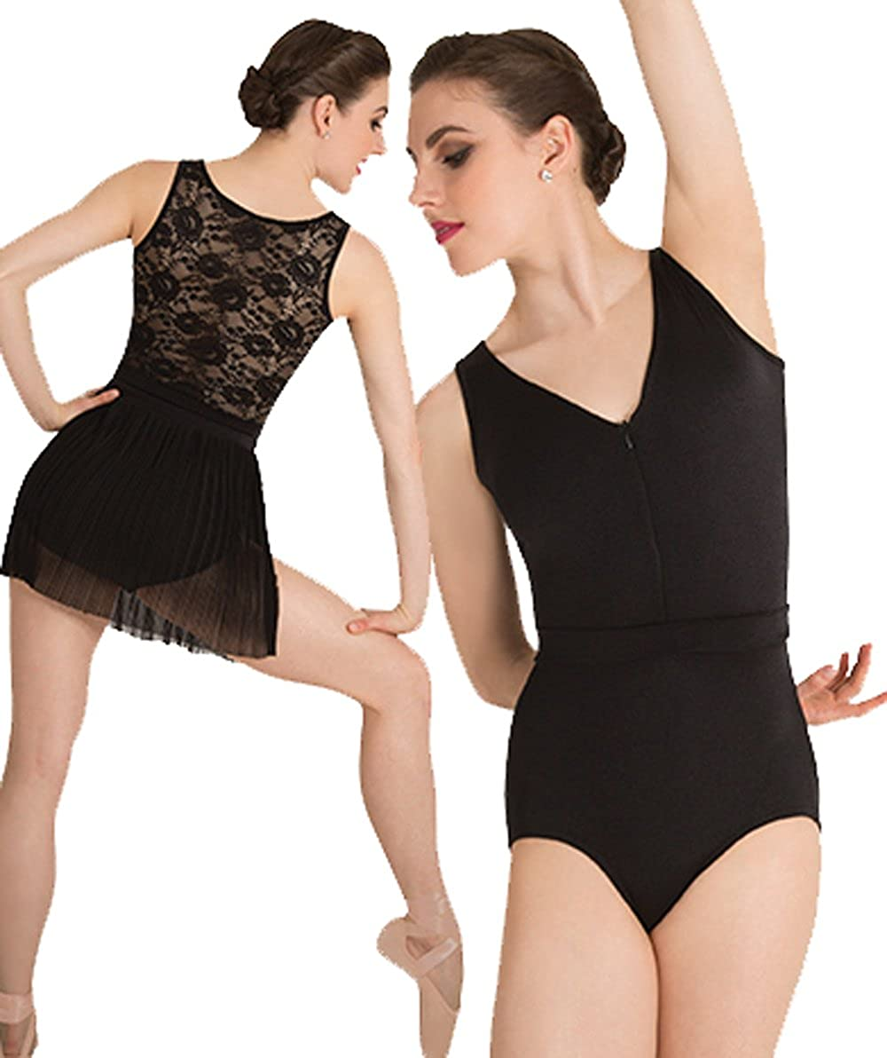 Black Body Wrappers womens Tank Lace Back Leotard (P1080)