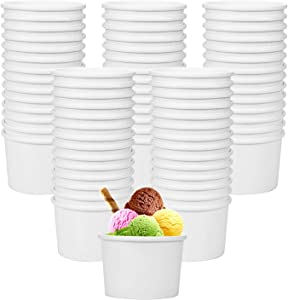 Hedume 120 Pack Ice Cream Cups, 8 oz Disposable Paper Dessert Bowls for Hot and Cold Food, Soup, Sundae, Frozen Yogurt