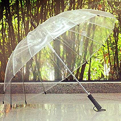 16 hombres y mujeres paraguas transparente retro paraguas largo paraguas paraguas paraguas de negocios creativo (