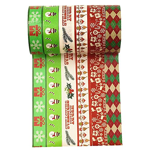 Price comparison product image Wise Bird Christmas Washi Tape,  Christmas Decoration Gift Wrap,  Snowman,  Gift Box,  Merry Christmas,  Holiday Argyle Check Grid Pattern,  Green Red White Washi Tape set of 6 -W 11