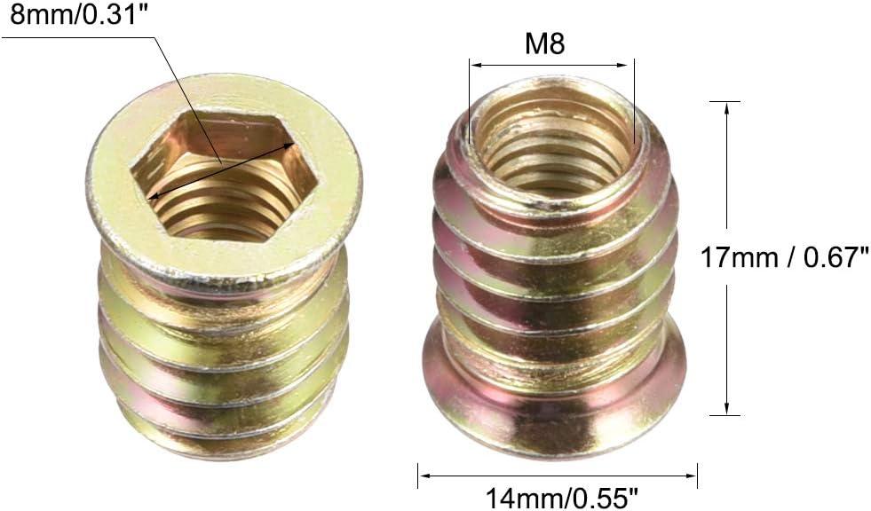 uxcell Wood Furniture M8x17mm Threaded Insert Nuts Interface Hex Socket Drive 20pcs