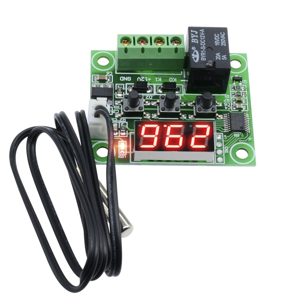 W1209 LED Digital Thermostat Controller Temperature Temp Control Switch Module Board 12V DC -50-110° C with Waterproof Sensor Probe (Blue LED) diymore D012108