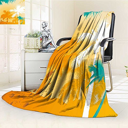 AmaPark Custom Design Cozy Flannel Blanket Tree Design with Funky Tropical Teal White and Marig Custom Design Cozy Flannel Blanket