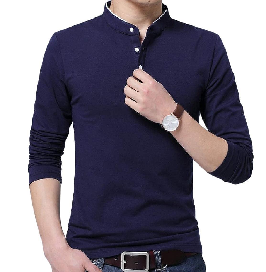 Highisa Men Comfortable Mandarin Collar Long Sleeve Blouse T-Shirt Tops