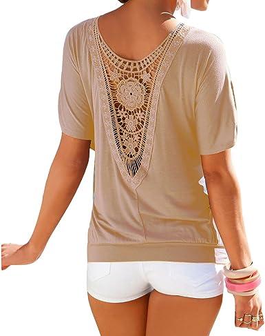 Mujer Camiseta Oversize Encaje Camisa Mujer Blusa Manga Corta O Cuello Tops Elegante Camisetas de Corte Holgado Camisas de Color Sólido Transpirable: Amazon.es: Ropa y accesorios