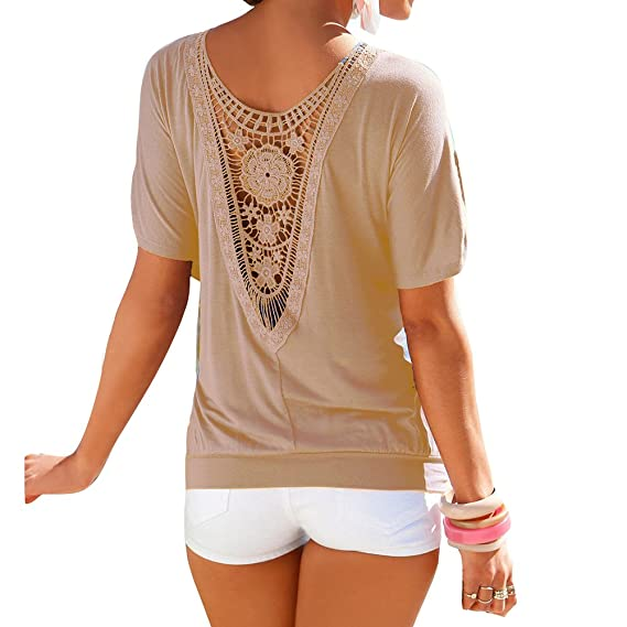 Hibote Mujer Camiseta Oversize Encaje Camisa Mujer Blusa Manga Corta O Cuello Tops Elegante Camisetas de