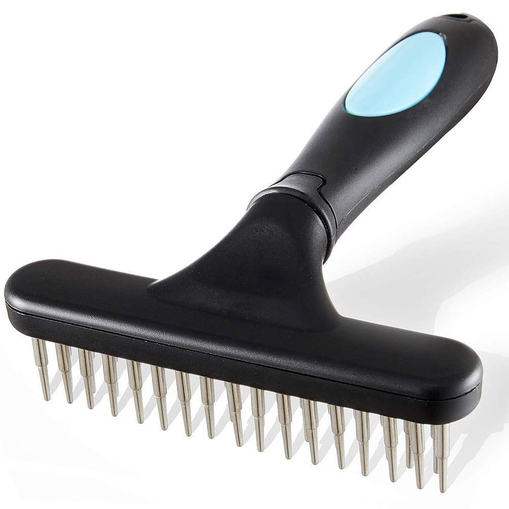 Dog rake Pet Comb,Stainless Steel Fur Shedding Rake, Deshedding Comb for Dogs, Cats and Rabbits, Double Row of Teeth, Reduces Shedding, Removes Pets Mattes and Tangles (Blue)