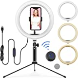 "10"" LED Ring Light with Tripod Stand Adjustable & Phone Holder, Bluetooth Remote Shutter for Makeup/Live Stream/YouTube Video/Photography, Compatible with iPhone/Android - WONEW ZJ02"