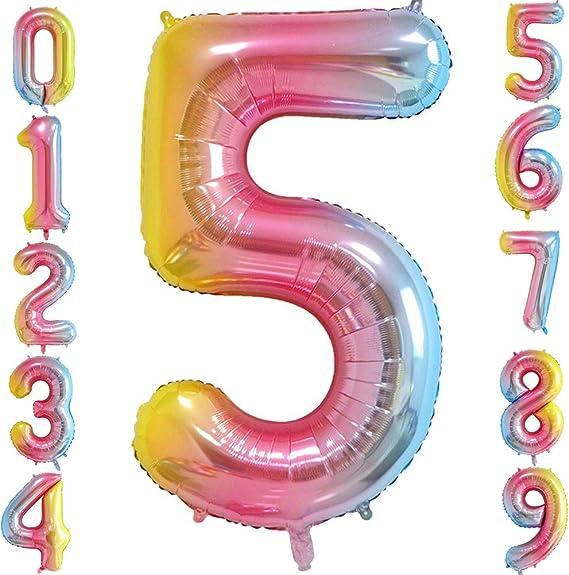 Amazon.com: Globos de números coloridos para decoración de ...