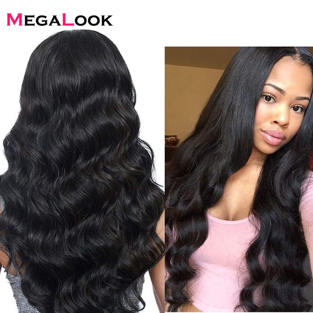 Amazon.com : Megalook Lace Front Wig with baby Hair 360 Human Wigs for Black Women Brazilian Body Wave Pre Plucked Hairline