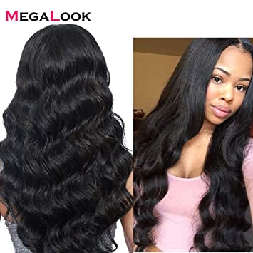 Amazon.com   Megalook Lace Front Wig with baby Hair 360 Lace Front Human  Hair Wigs for Black Women Brazilian Body Wave Lace Wigs with Pre Plucked  Hairline ... 97d2ec72c