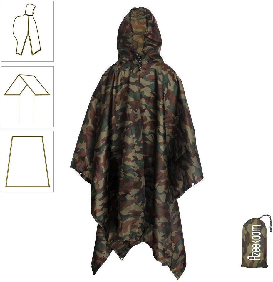 Azeekoom Poncho de Lluvia Impermeable,3 en 1 Multifuncional Chubasquero Transpirable Ultrafino/Toldo Manta/Estera de Camping para Aire Libre Picnic Trekking Camping Senderismo(Camuflaje)